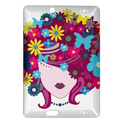 Beautiful Gothic Woman With Flowers And Butterflies Hair Clipart Amazon Kindle Fire Hd (2013) Hardshell Case