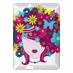 Beautiful Gothic Woman With Flowers And Butterflies Hair Clipart Kindle Fire HDX Hardshell Case