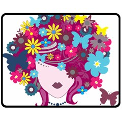 Beautiful Gothic Woman With Flowers And Butterflies Hair Clipart Double Sided Fleece Blanket (medium)
