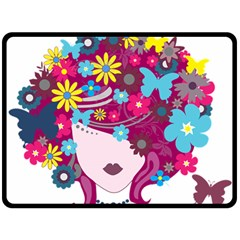 Beautiful Gothic Woman With Flowers And Butterflies Hair Clipart Double Sided Fleece Blanket (large)