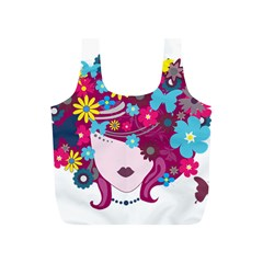 Beautiful Gothic Woman With Flowers And Butterflies Hair Clipart Full Print Recycle Bags (s)