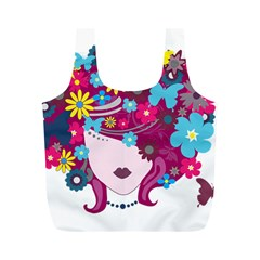 Beautiful Gothic Woman With Flowers And Butterflies Hair Clipart Full Print Recycle Bags (m)