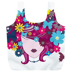 Beautiful Gothic Woman With Flowers And Butterflies Hair Clipart Full Print Recycle Bags (L)