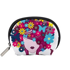 Beautiful Gothic Woman With Flowers And Butterflies Hair Clipart Accessory Pouches (Small)