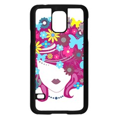 Beautiful Gothic Woman With Flowers And Butterflies Hair Clipart Samsung Galaxy S5 Case (black)