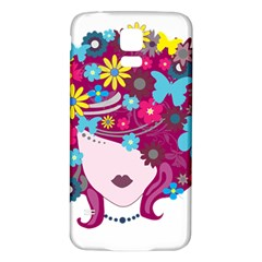 Beautiful Gothic Woman With Flowers And Butterflies Hair Clipart Samsung Galaxy S5 Back Case (white)