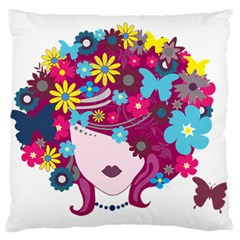 Beautiful Gothic Woman With Flowers And Butterflies Hair Clipart Large Flano Cushion Case (one Side)