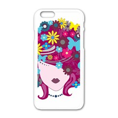 Beautiful Gothic Woman With Flowers And Butterflies Hair Clipart Apple Iphone 6/6s White Enamel Case