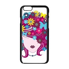 Beautiful Gothic Woman With Flowers And Butterflies Hair Clipart Apple iPhone 6/6S Black Enamel Case