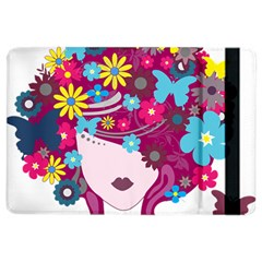 Beautiful Gothic Woman With Flowers And Butterflies Hair Clipart iPad Air 2 Flip