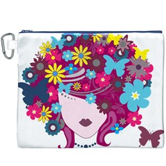 Beautiful Gothic Woman With Flowers And Butterflies Hair Clipart Canvas Cosmetic Bag (xxxl)
