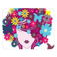 Beautiful Gothic Woman With Flowers And Butterflies Hair Clipart Double Sided Flano Blanket (Large)