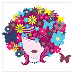Beautiful Gothic Woman With Flowers And Butterflies Hair Clipart Large Satin Scarf (square)