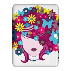 Beautiful Gothic Woman With Flowers And Butterflies Hair Clipart Samsung Galaxy Tab 4 (10.1 ) Hardshell Case