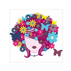 Beautiful Gothic Woman With Flowers And Butterflies Hair Clipart Small Satin Scarf (square)