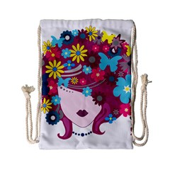Beautiful Gothic Woman With Flowers And Butterflies Hair Clipart Drawstring Bag (small)