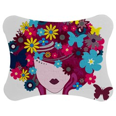 Beautiful Gothic Woman With Flowers And Butterflies Hair Clipart Jigsaw Puzzle Photo Stand (bow)