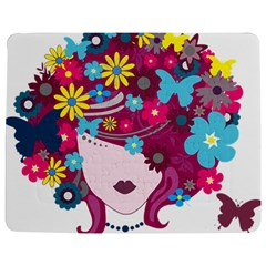 Beautiful Gothic Woman With Flowers And Butterflies Hair Clipart Jigsaw Puzzle Photo Stand (rectangular)