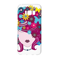 Beautiful Gothic Woman With Flowers And Butterflies Hair Clipart Samsung Galaxy S8 Hardshell Case