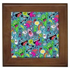 Monster Party Pattern Framed Tiles