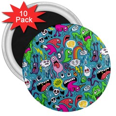 Monster Party Pattern 3  Magnets (10 pack)