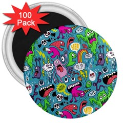 Monster Party Pattern 3  Magnets (100 pack)