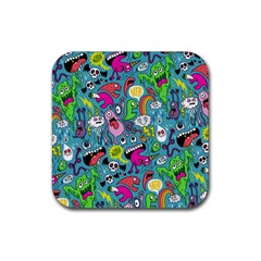 Monster Party Pattern Rubber Square Coaster (4 pack)