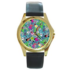 Monster Party Pattern Round Gold Metal Watch