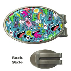 Monster Party Pattern Money Clips (oval)