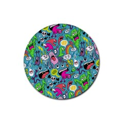 Monster Party Pattern Rubber Round Coaster (4 Pack)
