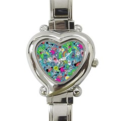 Monster Party Pattern Heart Italian Charm Watch