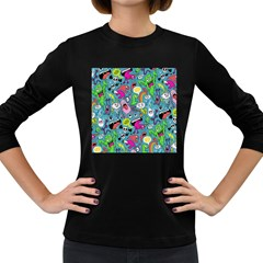 Monster Party Pattern Women s Long Sleeve Dark T-Shirts