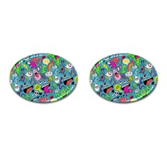 Monster Party Pattern Cufflinks (Oval)