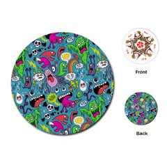 Monster Party Pattern Playing Cards (Round)