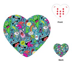 Monster Party Pattern Playing Cards (Heart)
