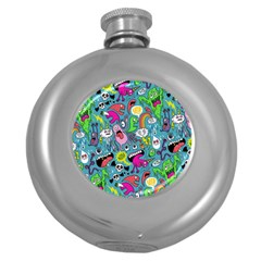 Monster Party Pattern Round Hip Flask (5 oz)