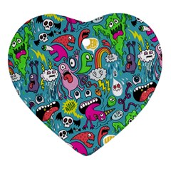 Monster Party Pattern Heart Ornament (Two Sides)
