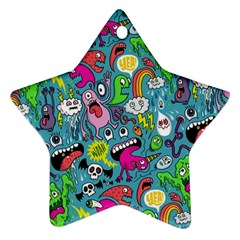 Monster Party Pattern Star Ornament (two Sides)