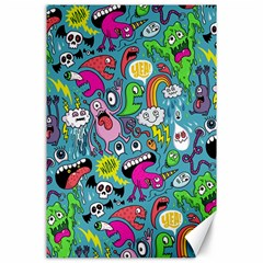 Monster Party Pattern Canvas 24  x 36