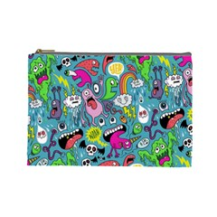 Monster Party Pattern Cosmetic Bag (large)
