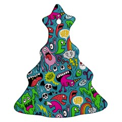 Monster Party Pattern Christmas Tree Ornament (two Sides)