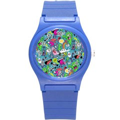 Monster Party Pattern Round Plastic Sport Watch (S)