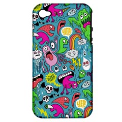 Monster Party Pattern Apple iPhone 4/4S Hardshell Case (PC+Silicone)