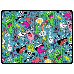 Monster Party Pattern Double Sided Fleece Blanket (Large)