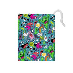 Monster Party Pattern Drawstring Pouches (medium)