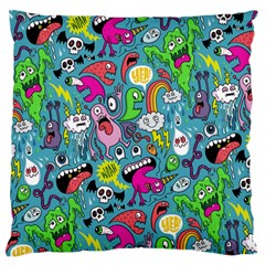 Monster Party Pattern Large Flano Cushion Case (one Side)