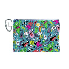 Monster Party Pattern Canvas Cosmetic Bag (M)