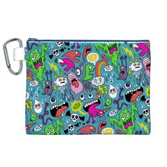 Monster Party Pattern Canvas Cosmetic Bag (xl)