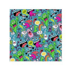 Monster Party Pattern Small Satin Scarf (square)