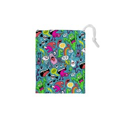 Monster Party Pattern Drawstring Pouches (xs)